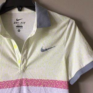 Nike Dri Fit Polo Color Blocked Anjmal Print Sz XS